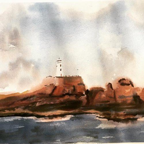 aquarelle phare Paon